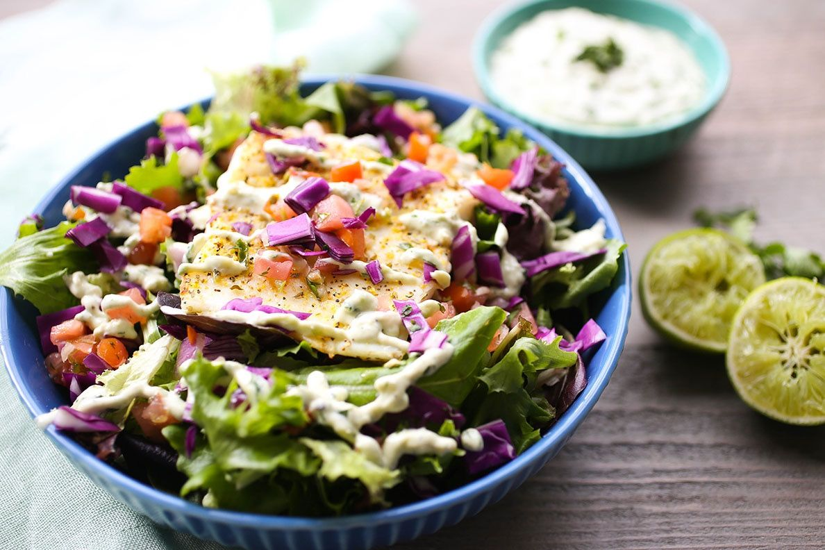 Halibut Salad with Avocado Aioli